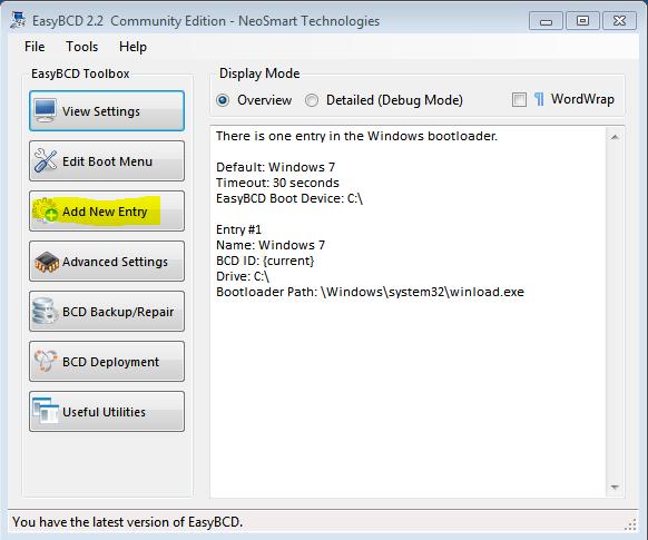 Windows 7 EasyBCD 2.2