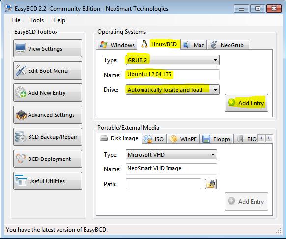 Windows 7 EasyBCD Add Entry