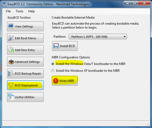 EasyBCD Install Windows MBR