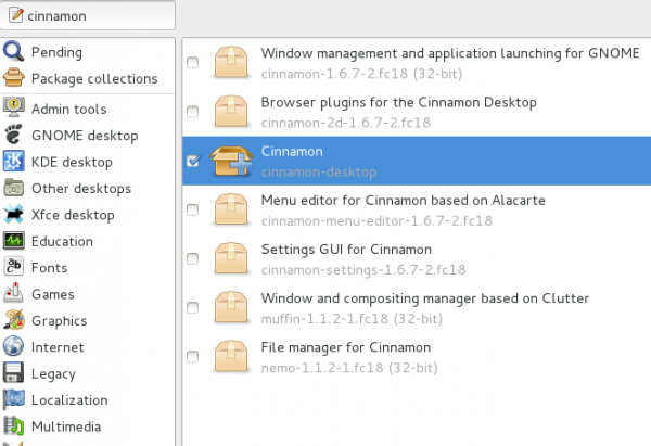Fedora 18 Install Cinnamon