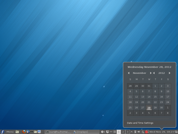 Fedora 18 Cinnamon Date