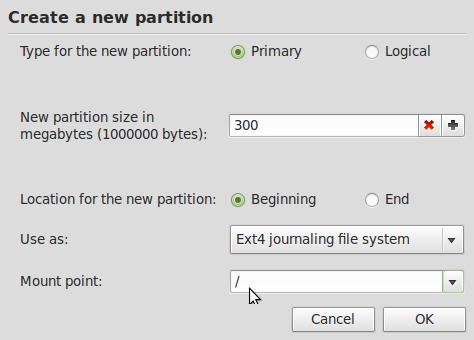 Mint Partition Creator