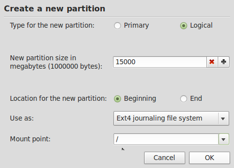 Mint Create Boot Partition