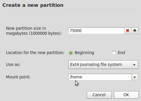 Mint Create Root Partition