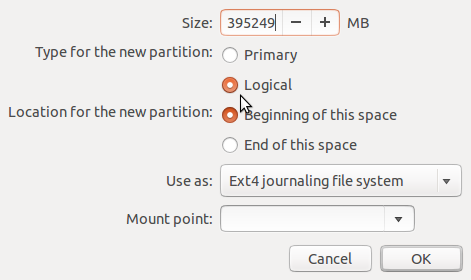 Create Partitions