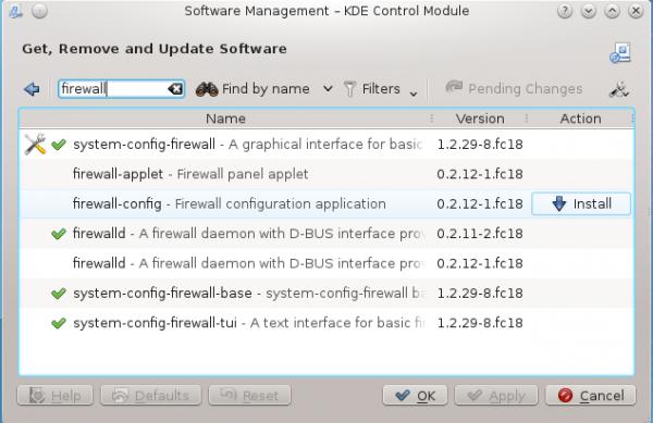 Fedora 18 Firewall Apper