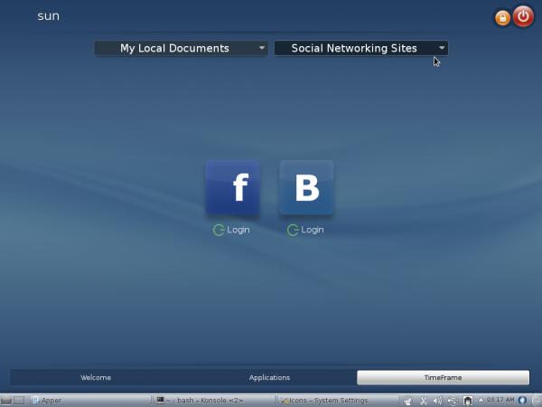 Fedora 18 SimpleWelcome TimeFrame Tab