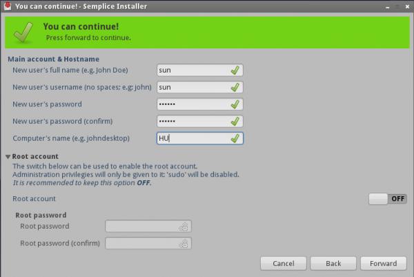 Semplice Install User