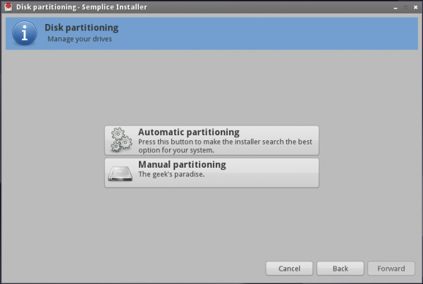 Semplice Install Partition