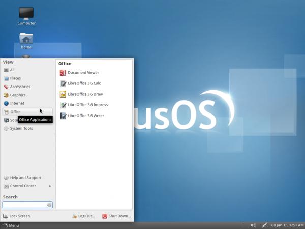 SolusOS Desktop Menu