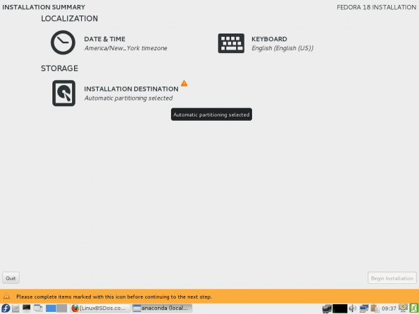 Anaconda Fedora 18 Live CD Image