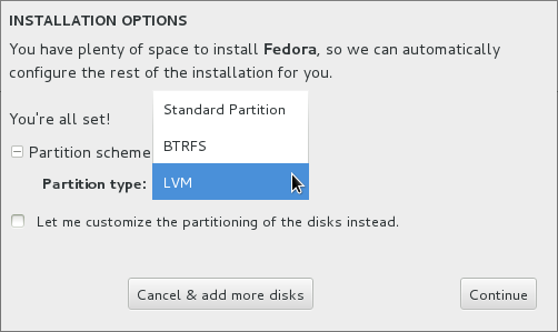 Fedora 18 Spherical Cow Anaconda Disk Options