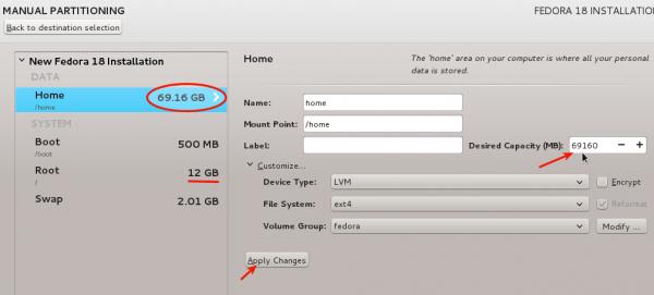 Fedora 18 Anada LVM Setup