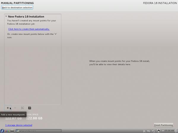 Fedora 18 Anaconda LVM Setup