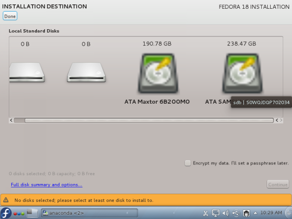 Fedora 18 Anaconda Two Hard Drives