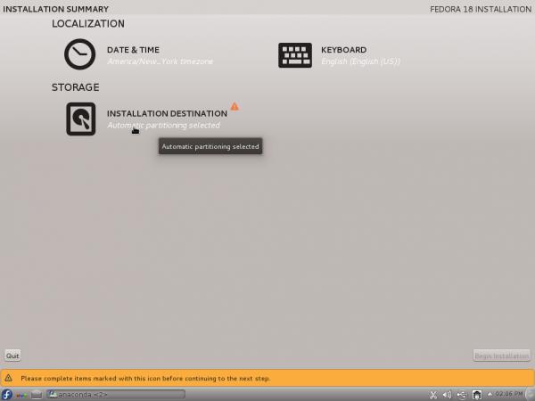Fedora 18 Anaconda Hub
