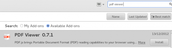 Firefox PDF Reader Built-in