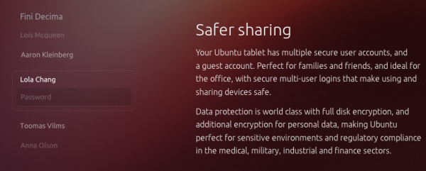 Ubuntu on tablets Multi-user