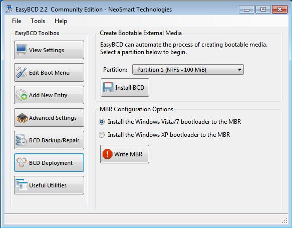 EasyBCD Windows 7 Restore MBR