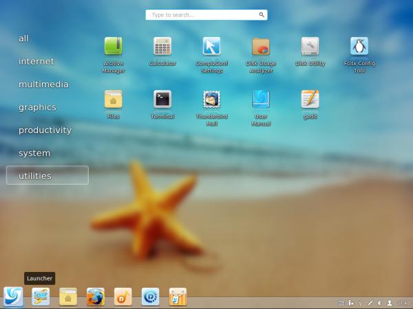 Deepin Linux 12.12 launcher