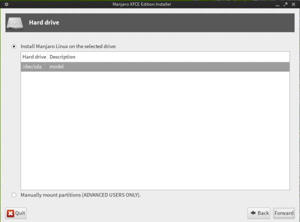Manjaro's graphical Installer Disk Partition