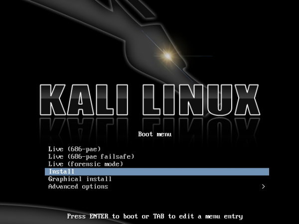 Kali Linux GRUB Boot menu