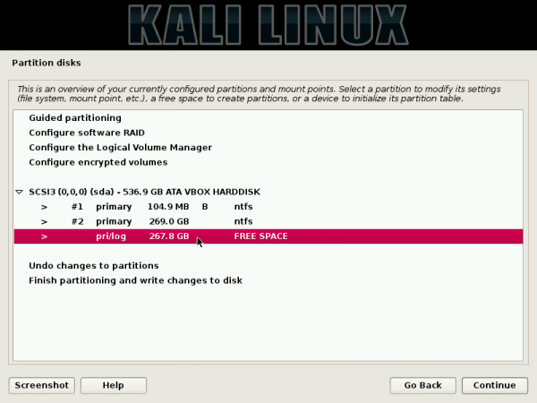 Kali Linux Create Partition