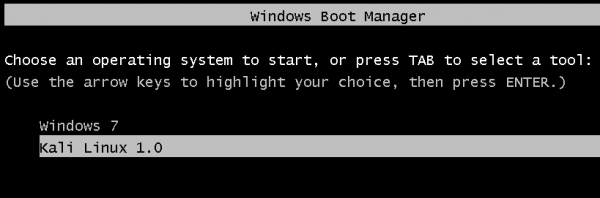 Dual-boot Windows 7 and Kali Linux