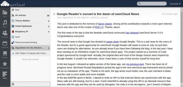 Google Reader alternatives ownCloud RSS Feed