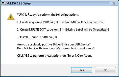 YUMI Linux multiboot Ubuntu USB key