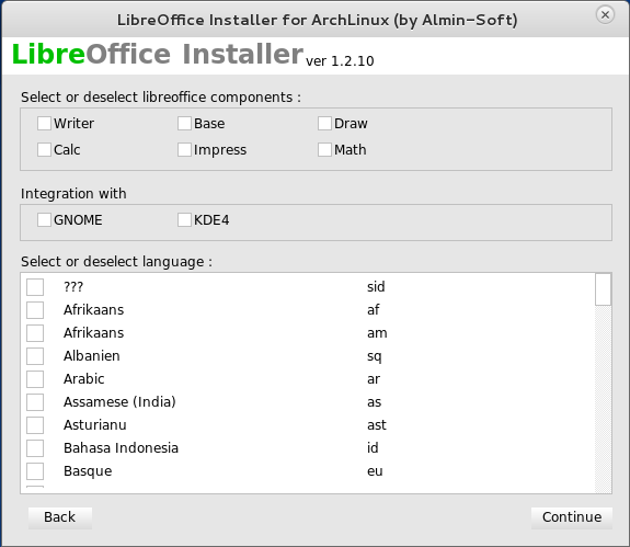 Antergos LibreOffice installer