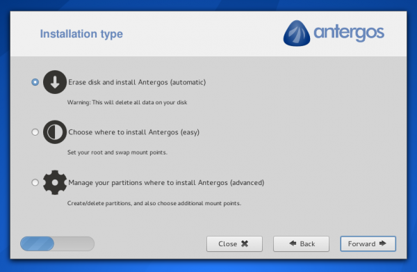 Antergos Linux disk partition options