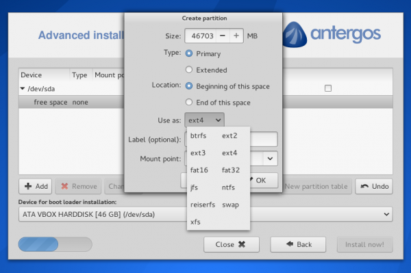 Antergos Linux cnchi filesystem options