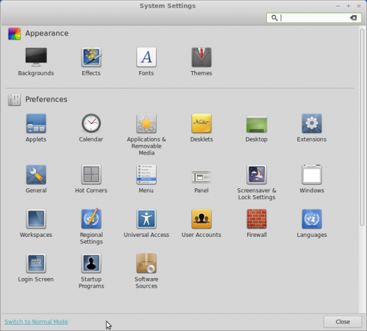 Linux Mint 15 Cinnamon Settings