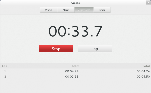 Fedora GNOME 3 Clock Stopwatch