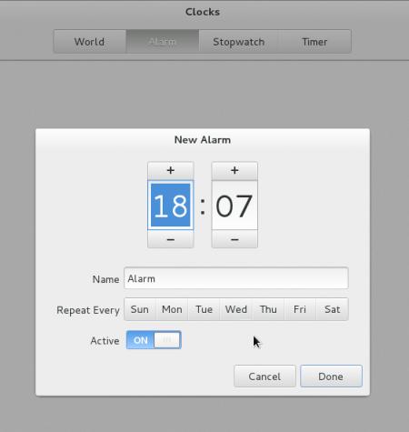Fedora GNOME 3 Clock Alarm