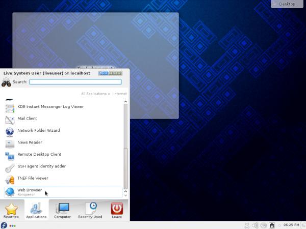 Fedora 19 KDE KickOff menu