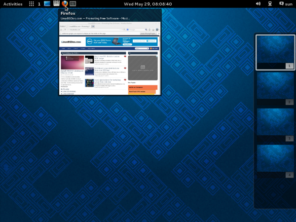 Fedora 19 GNOME Workspace to Dock extension