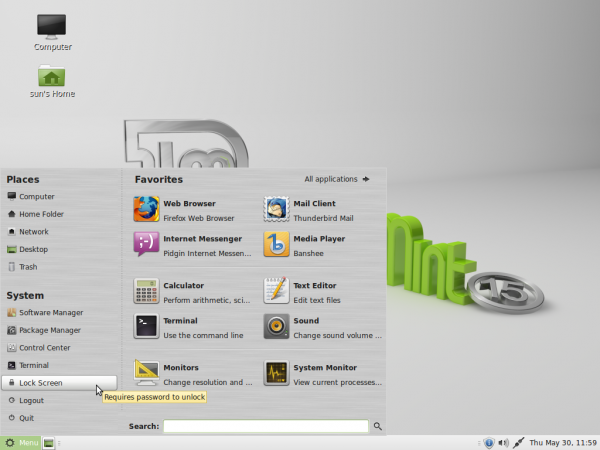 Linux Mint 15 MATE Desktop menu