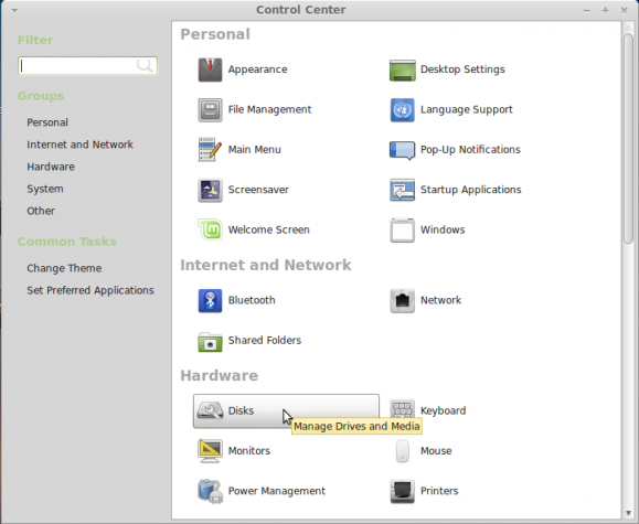 Linux Mint 15 MATE Control center