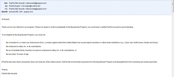 Robert Kugler and Paypal's bug bounty eligibility requirements