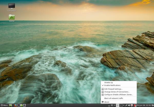 Linux Mint 15 Cinnamon Desktop firewalld firewall-applet