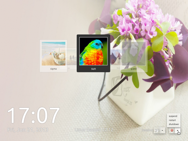 Linux Deepin 12.12 review Login screen
