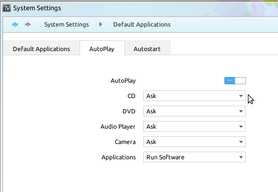 Linux Deepin Autoplay Settings