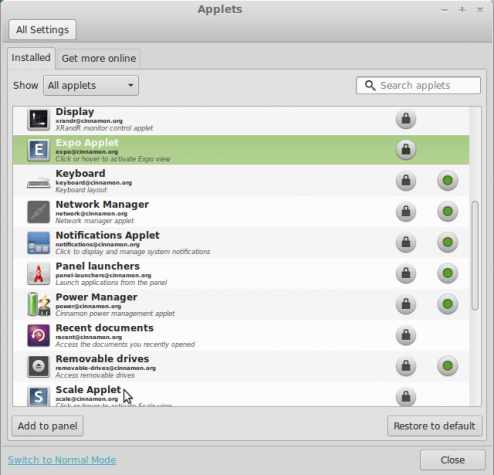 Customize Linux Mint 15 Cinnamon applet