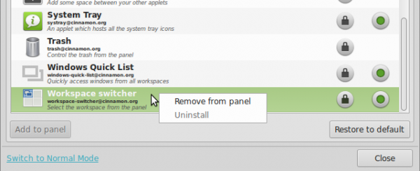 Linux Mint 15 Cinnamon remove panel applet