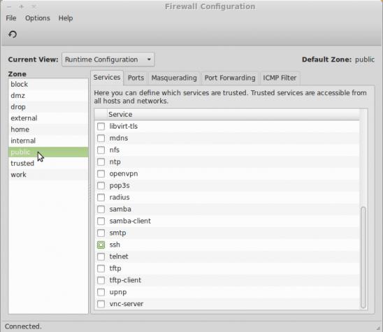 Firewalld install Linux Mint 15 firewall-config