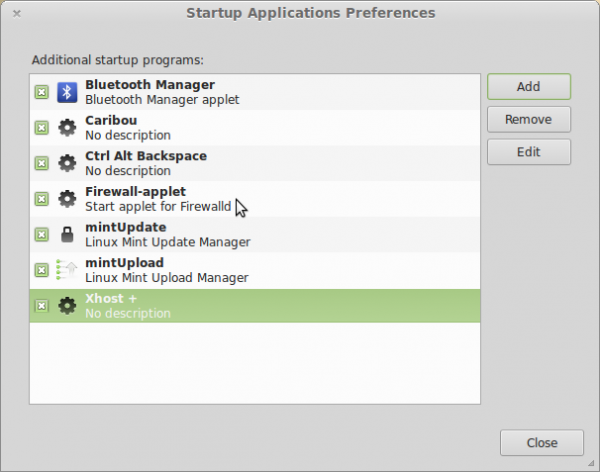 Linux Mint 15 auto-start firewall-applet