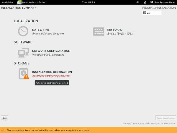 Fedora 18 Anaconda main hub
