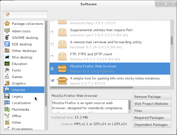 GNOME Package Kit Fedora 19